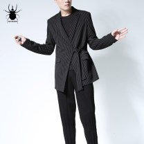 man 's suit black Rayshow Youth fashion routine 170/84A,175/88A,180/92A,185/96A Self cultivation Zipper placket Other leisure No slits Long sleeves autumn routine tide Casual clothes Baling collar Slant hem stripe Narrow collar (below 7cm) 2017 Digging bags with lids