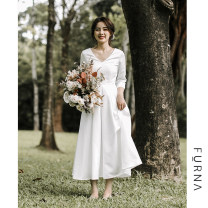 Wedding dress Spring 2020 white S. M, l, custom size 15-20 days Retro Fluffy skirt Outdoor Lawn  Deep collar V satin High waist 18-25 years old Sleeveless shawl 96% and above polyester fiber Bright forging