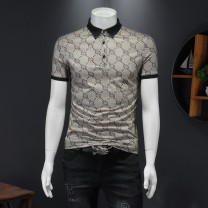 Polo shirt Biem.l.fdlkk/bien leffin Fashion City routine As shown in the picture, khaki [29845], Tibetan blue [28873], khaki [28873], deep Khaki [28708] M,L,XL,2XL,3XL,4XL,5XL Super slim Other leisure summer Short sleeve tide routine youth 2021 Geometric pattern cotton No iron treatment printing