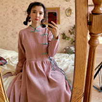 Dress Autumn 2020 Pink cheongsam S. M, shipment in autumn and winter Mid length dress singleton  Long sleeves Sweet High waist Double summer