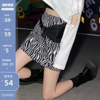 skirt Summer 2020 S,M,L,XL Black, white Short skirt commute High waist A-line skirt Zebra pattern Type A 18-24 years old Q7095-1 31% (inclusive) - 50% (inclusive) other Other / other Zipper, print Korean version