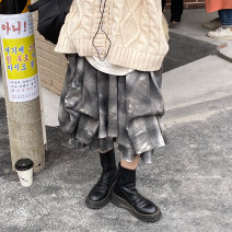 skirt Autumn 2020 Average size Gray, blue Mid length dress street High waist A-line skirt lattice Type A 18-24 years old 4Q91022 31% (inclusive) - 50% (inclusive) other Other / other Lacing, asymmetric, stitching