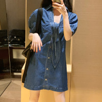 Dress Summer 2020 Dark blue, light blue S,M,L Mid length dress singleton  Short sleeve commute V-neck High waist Solid color Single breasted puff sleeve 18-24 years old Type H Other / other Korean version Bows, hollows, folds, straps, buttons 044Q3327 31% (inclusive) - 50% (inclusive) Denim other