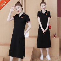 Dress Summer 2021 black M,L,XL,2XL,3XL,4XL longuette singleton  Short sleeve commute Polo collar letter routine Others Korean version pocket cotton