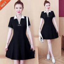 Dress Summer 2021 black 3XL,4XL,M,L,XL,2XL Mid length dress singleton  Short sleeve commute Polo collar Solid color other routine Korean version 8017 × pure cotton