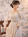 Dress Spring 2021 Off white S,M,L longuette singleton  Long sleeves commute square neck High waist Solid color Socket Princess Dress puff sleeve Others 25-29 years old Type A court Embroidery, stitching, buttons, lace Lace