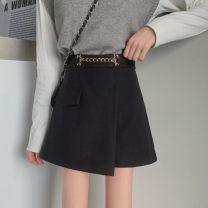 Casual pants black S,M,L,XL,2XL,3XL,4XL Winter 2020 shorts Wide leg pants High waist commute thickening 96% and above Wool blended fabric Korean version zipper polyester fiber Asymmetry