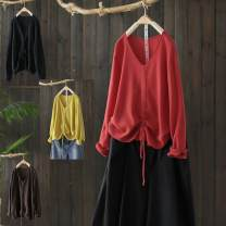 Wool knitwear Autumn of 2019 Average size [recommended 90-140 kg] Red, black, yellow, lake blue, coffee, purple Long sleeves singleton  Socket cotton 81% (inclusive) - 90% (inclusive) Regular routine commute easy V-neck routine Solid color Socket literature Bandage