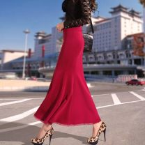 skirt Spring 2021 XS,S,M,L,XL,2XL Black, red longuette High waist skirt Other / other Stitching, lace, solid