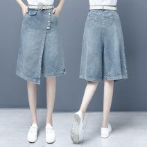 Jeans Summer 2020 blue 26/S,27/M,28/L,29/XL,30/2XL Cropped Trousers High waist Wide legged trousers Thin money 25-29 years old Zipper, button Thin denim light colour HLD8526 Han Ludan
