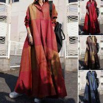 Dress Winter 2021 Blue, red, yellow longuette singleton  Loose waist lattice Big swing