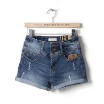 Jeans Summer 2015 Popular denim 30,26,27,28,29 shorts High waist Pencil pants routine Make old, wash, whiten, button Cotton denim Dark color