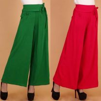 Casual pants Black, red, green Summer 2015 trousers Wide leg pants High waist commute Thin money 31% (inclusive) - 50% (inclusive) hemp ethnic style pocket Asymmetry