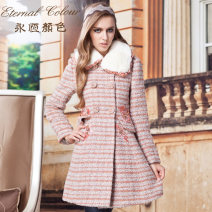 woolen coat Winter 2013 S,M,L,XL,XXL Dark powder wool 31% (inclusive) - 50% (inclusive) have more cash than can be accounted for Long sleeves commute Buckle routine Doll Collar stripe Self cultivation lady F42126 Eternal.color/eternal color