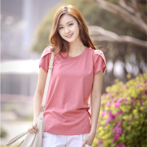 T-shirt White, gray, black, light green, pink S,M,L,XL,XXL,XXXL,XXXXL Summer 2015 Short sleeve Crew neck easy Regular Petal sleeve commute cotton 96% and above Korean version youth Solid color