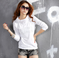 T-shirt White, black Autumn 2016 Long sleeves Hood Self cultivation Regular routine cotton 86% (inclusive) -95% (inclusive)