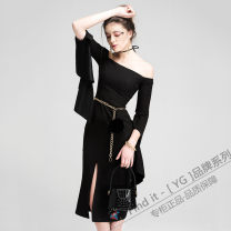 Dress Autumn of 2019 black XS,S,M,L,XL Middle-skirt singleton  three quarter sleeve commute One word collar middle-waisted Solid color Socket A-line skirt pagoda sleeve Others Type X Yigelila Ol style Resin fixation, wave, zipper 71% (inclusive) - 80% (inclusive) polyester fiber