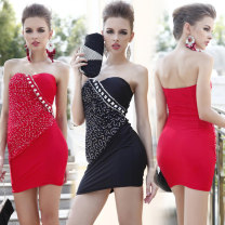 Dress Summer 2020 Big red silver drill, royal blue silver drill, black silver drill Average size Miniskirt singleton  Sleeveless street One word collar Dot Socket One pace skirt Breast wrapping 25-29 years old Oulilan Guifang Europe and America