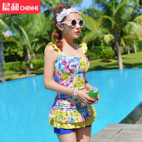 one piece  DUDU&MUMU L (recommended 80-100kg) XL (recommended 100-115kg) XXL (recommended 115-130kg) Yellow floret - strip holder One piece flat corner swimsuit Steel strap breast pad Spandex polyester others KX1431 Autumn of 2019 female Sleeveless Casual swimsuit