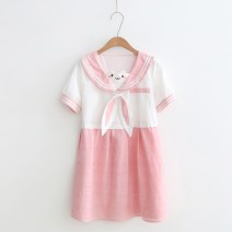 Dress Summer 2020 Pink Long sleeve, pink short sleeve, light blue short sleeve, Navy bow Average size singleton  Short sleeve Sweet Scarf Collar Loose waist Animal design Socket routine Hanging neck style 18-24 years old Type A More than 95% college