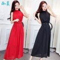 Dress Summer 2021 Red (for belt), black (for belt), khaki (for belt), gray (for belt) S,M,L,XL longuette singleton  Sleeveless commute Half high collar High waist Solid color Socket Big swing routine Others 18-24 years old Type H Others Korean version Panel, zipper 71% (inclusive) - 80% (inclusive)