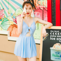 one piece  VICKI·VICKI L,M,XL blue One piece flat corner swimsuit With chest pad without steel support Others, polyester