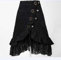skirt Autumn 2016 S,M,L,XL,2XL black Middle-skirt Rock and roll Natural waist Ruffle Skirt Solid color 51% (inclusive) - 70% (inclusive) brocade cotton Lotus leaf edge