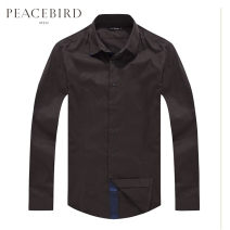 shirt Fashion City Peacebird S M L XL XXL XXXL XXXXL brown routine Pointed collar (regular) Long sleeves Self cultivation Other leisure spring B1CA3506170 youth Cotton 100% Solid color Spring 2014 cotton More than 95%