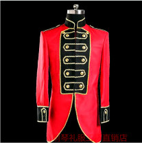 man 's suit gules Others Youth fashion routine XF05 Self cultivation Multi grain double breasted dance No slits youth Long sleeves Four seasons Medium length Youthful vigor Casual clothes stand collar Slant hem Solid color 2018 Embroidery nylon Embroidery Less than 30%