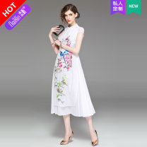 Dress Summer 2017 Picture color more color, please contact customer service 145/72/XXS 150/76/XS 155/80/S 160/84/M 165/88/L 170/92/XL Mid length dress singleton  Short sleeve street stand collar High waist scenery zipper A-line skirt routine Others 30-34 years old Type A Naixin Embroidery other other