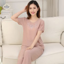 Pajamas / housewear set female Other / other 4XL [suitable for 140-160 kg], 3XL [suitable for 120-140 kg], XXL [suitable for 100-120 kg], XL [suitable for 80-100 kg] viscose  Short sleeve Simplicity Leisure home summer routine Crew neck Solid color Cropped Trousers Socket middle age 2 pieces