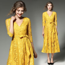 Dress Spring of 2019 Color belt S,M,L,XL,2XL Mid length dress singleton  three quarter sleeve street V-neck middle-waisted other Big swing routine Others Type A Lace, lace Lace Europe and America