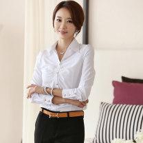 shirt white S,M,L,XL,4XL,5XL,XXL,XXXL nylon 51% (inclusive) - 70% (inclusive) Long sleeves commute V-neck Single row multi button puff sleeve Solid color Self cultivation Korean version A09