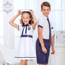 School uniform / school uniform customization Boys dark blue (shirt + pants + tie) girls white neutral EYAS summer college Class B YT1719 chemical fiber Short sleeve + pants Polyester 67% cotton 33% Summer 2017