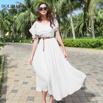 Dress Spring 2015 Y double ruffles white y double ruffles green S M longuette singleton  commute Crew neck Elastic waist Solid color Socket Ruffle Skirt Lotus leaf sleeve camisole 25-29 years old Holiday lady literature Ruffle strap H1031B04011 More than 95% other polyester fiber Polyester 100%