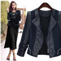Women's large Winter 2015, autumn 2015 black Large XL, large XXL, large XXL, large XXXXL, large XXXXL, large L singleton  street Self cultivation moderate Cardigan Long sleeves Solid color Half open collar routine Pu, others Collage 18-24 years old zipper Rock and roll