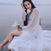 Dress Summer 2016 white S,M,L longuette singleton  Long sleeves Sweet One word collar High waist Solid color Socket Princess Dress routine Breast wrapping 18-24 years old Other / other Bow, fold 51% (inclusive) - 70% (inclusive) Chiffon polyester fiber Mori