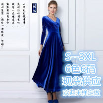 Dress Spring 2015 S,M,L,XL,2XL,3XL longuette singleton  Long sleeves street V-neck High waist Solid color Socket Big swing routine Others 30-34 years old Resin fixation More than 95% other polyester fiber
