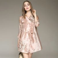 Dress Spring 2020 S,M,L,XL,2XL,3XL,4XL Short skirt Two piece set three quarter sleeve other middle-waisted Solid color other other routine Others Type X Blue sky Butterfly Embroidery More than 95% other polyester fiber