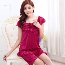 Pajamas / housewear set female Pretty and elegant S (super cool and comfortable ice pajamas) m (no reason to return in seven days) l (women's summer essential nightdress) XL (no pilling, no deformation, no shrinkage) XXL (soft, comfortable and smooth) Iced silk Short sleeve luxurious pajamas summer