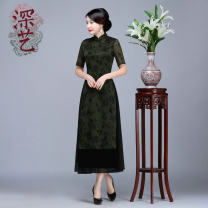 cheongsam Spring 2017 S M L XL XXL XXXL 4XL Short sleeve long cheongsam Retro High slit daily Oblique lapel Decor Over 35 years old Piping Deep art polyester fiber Polyester 100% Pure e-commerce (online only) 96% and above
