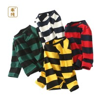 T-shirt New striped long sleeve yellow new striped long sleeve green new striped long sleeve red new striped Long Sleeve White Well behaved 100cm 110cm 120cm 130cm 140cm neutral spring and autumn Long sleeves Crew neck leisure time No model nothing cotton stripe Class B Quick drying