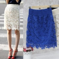 skirt Spring of 2018 S,M,L,XL Black, sapphire blue, apricot yellow Mid length dress Versatile High waist skirt Solid color Type H 25-29 years old 004-50 51% (inclusive) - 70% (inclusive) Lace nylon Hollowed out, Gouhua hollowed out, lace