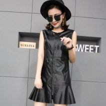 Dress Spring 2020 black M, L Mid length dress Sleeveless street zipper 30-34 years old Other / other Sheepskin