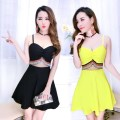 Dress Summer 2021 Rose, white, pink, red, green, yellow, black Average size Short skirt singleton  Sleeveless commute V-neck High waist Solid color zipper Princess Dress camisole 18-24 years old Type A Korean version 31% (inclusive) - 50% (inclusive) brocade