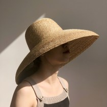 Hat Straw weaving Grass color M(56-58cm) Straw hat female youth Bell shaped Big eaves 15-19 years old 20-24 years old 25-29 years old 30-34 years old 35-39 years old 40-59 years old