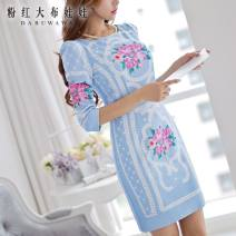 Dress Summer 2015 Sky blue print XL S M L Short skirt singleton  three quarter sleeve commute Crew neck middle-waisted Decor Socket puff sleeve 25-29 years old Big pink doll Retro printing More than 95% polyester fiber Polyester 100%