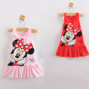 Dress Red, pink female Other / other 90, 100, 110, 120, 130 Cotton 100% summer Korean version Petticoat Cartoon animation other Pleats Class B