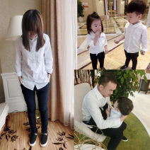 Parent child fashion white shirt A family of three Female, male, neutral Other / other 80cm, 90cm, 100cm, 110cm, 120cm, 130cm, 140cm, mom s, mom m, mom L, Dad XL, Dad XXL, Dad XXL YX1103 spring and autumn leisure time routine Solid color shirt Pure cotton (100% cotton content) L,M,S YX1103 Class A