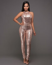 Casual pants Champagne S,M,L,XL Winter 2016 trousers Jumpsuit street routine 25-29 years old 51% (inclusive) - 70% (inclusive) polyester fiber Sequins Europe and America